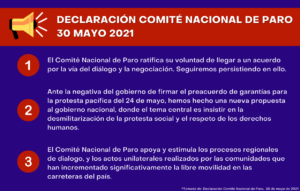 Declaración CNP 30 mayo